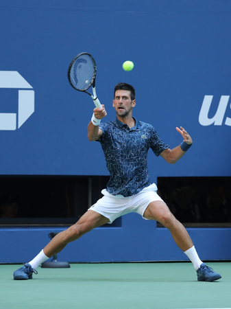 NEW YORK - SEPTEMBER 3, 2018: 13-time Grand Slam champion Novak Djokovic of Serbia in action during his 2018 US Open round of 16 match at Billie Jean King National Tennis Center Editorial