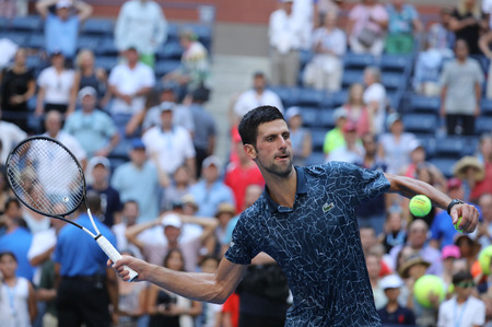 NEW YORK - SEPTEMBER 3, 2018: 13-time Grand Slam champion Novak Djokovic of Serbia celebrates victory after his 2018 US Open round of 16 match at Billie Jean King National Tennis Center