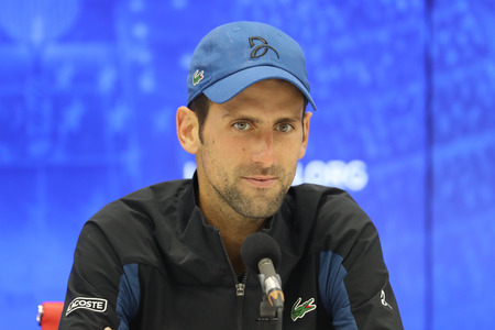 NEW YORK - SEPTEMBER 3, 2018: 13-time Grand Slam champion Novak Djokovic of Serbia during press conference after his 2018 US Open round of 16 match at Billie Jean King National Tennis Center Editoriali