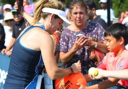 NEW YORK - AUGUST 26, 2018: Grand Slam champion Arantxa Sanchez Vicario signs autographs aft signs autographs after Women's Champions Doubles match at 2018 US Open at National Tennis Center in New York
