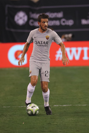 EAST RUTHERFORD, NJ - AUGUST 7, 2018: Alessandro Florenzi of A.S. Roma #24 in action during the 2018 International Champions Cup match Real Madrid vs Roma at MetLife stadium. Redactioneel