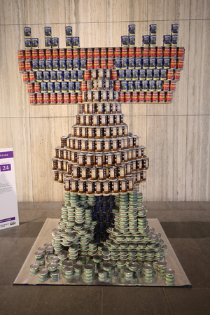 NEW YORK - NOVEMBER 15, 2018: Food sculpture presented at 26th Annual NYC Canstruction competition in Brookfield Place in New York. Teams build large scale sculptures out of canned food for food drive