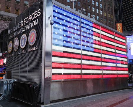 NEW YORK CITY - NOVEMBER 29, 2018: U.S. Armed Forces Recruiting Station recruits the enlisted, non commissioned and officer candidates for service in the US Armed Forces at Times Square in Manhattan