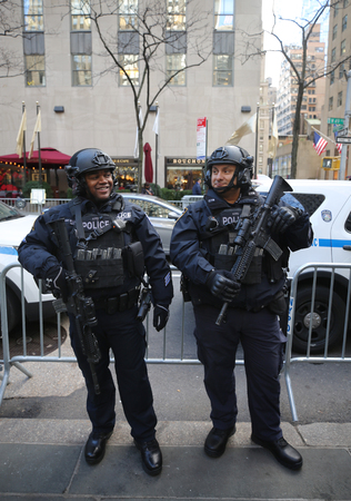 NEW YORK - NOVEMBER 29, 2018: NYPD counter terrorism officers providing security at Rockefeller Center in midtown Manhattan during Holidays season in New York