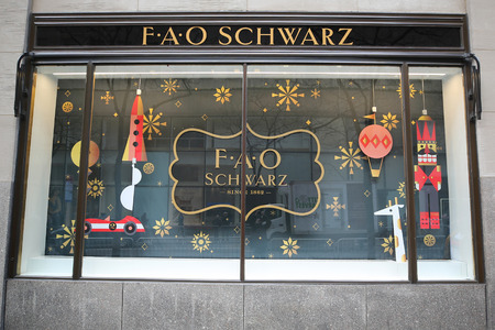 NEW YORK - NOVEMBER 29, 2018: Newly reopened the FAO Schwarz flagship store at Rockefeller Plaza in Midtown Manhattan