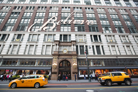 NEW YORK - DECEMBER 6, 2018: Macys at Herald Square on Broadway in Manhattan. In 1924 Macys was declared the Worlds Largest Store