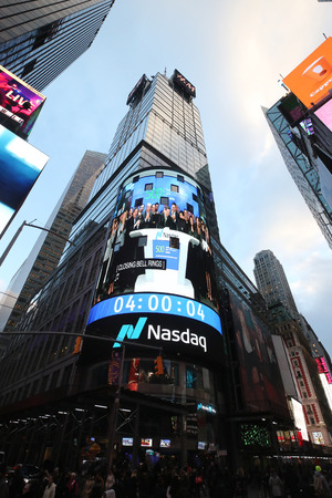 NEW YORK CITY - NOVEMBER 29, 2018: The headquarters of the NASDAQ Stock Exchange, the second largest trading market in the world in Times Square Editorial
