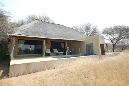 HOEDSPRUIT, SOUTH AFRICA - SEPTEMBER 28, 2018: Luxury safari lodge in the Kings Camp Private Game Reserve in Timbavati Private Nature Reserve, South Africa