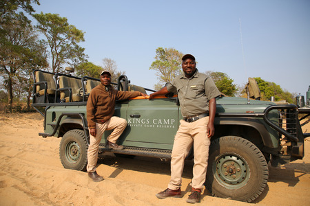 HOEDSPRUIT, SOUTH AFRICA - SEPTEMBER 28, 2018: Kings Camp safari ranger and spotter in Timbavati Private Nature Reserve, South Africa
