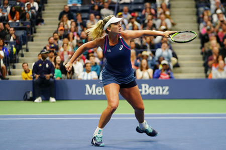 NEW YORK - SEPTEMBER 9, 2018: 2018 US Open women's doubles champion CoCo Vandeweghe of United States in action during final match at Billie Jean King National Tennis Center