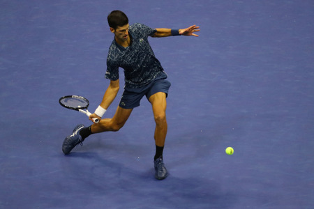 NEW YORK - SEPTEMBER 9, 2018: 2018 US Open Champion Novak Djokovic of Serbia in action during his final match against Juan Martin del Potro at USTA National Tennis Center Editorial
