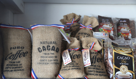 PUNTA CANA, DOMINICAN REPUBLIC - DECEMBER 31, 2018: Famous Dominican coffee and cacao at the beach market at Bavaro Beach in Punta Cana, Dominican Republic