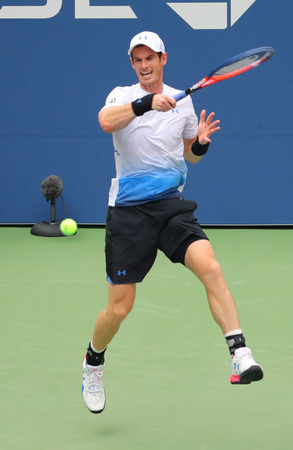 NEW YORK - AUGUST 27, 2018: Grand Slam Champion Andy Murray of Great Britain in action during first round match at 2018 US Open at USTA National Tennis Center Editorial