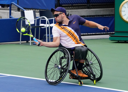 NEW YORK -SEPTEMBER 8, 2018: Wheelchair tennis player Dylan Alcott of Australia in action during his Wheelchair Quad Singles semifinal match at 2018 US Open at Billie Jean King National Tennis Center