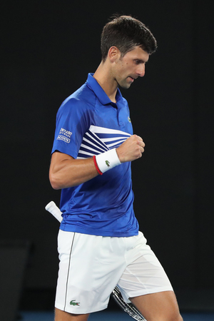 MELBOURNE, AUSTRALIA - JANUARY 25, 2019: 14 time Grand Slam Champion Novak Djokovic of Serbia in action during his semifinal match at 2019 Australian Open in Melbourne Park