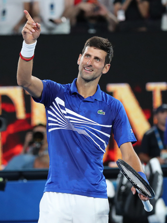 MELBOURNE, AUSTRALIA - JANUARY 25, 2019: 14 time Grand Slam Champion Novak Djokovic of Serbia celebrates victory after his semifinal match at 2019 Australian Open in Melbourne Park Editorial