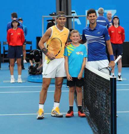 MELBOURNE, AUSTRALIA - JANUARY 27, 2019: Grand Slam Champions Rafael Nadal of Spain (L) and Novak Djokovic of Serbia at Rod Laver Arena before 2019 Australian Open mens final match in Melbourne Park Editorial