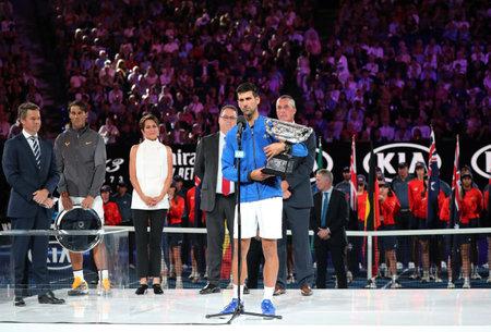 MELBOURNE, AUSTRALIA - JANUARY 27, 2019: 2019 Australian Open champion Novak Djokovic of Serbia during trophy presentation after mens final match at Rod Laver Arena in Melbourne Park