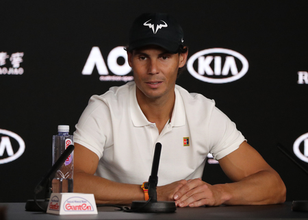 MELBOURNE, AUSTRALIA - JANUARY 27, 2019: 2019 Australian Open finalist  Rafael Nadal of Spain during press conference after his mens final match against Novak Djokovic of Serbia in Melbourne Park Editorial