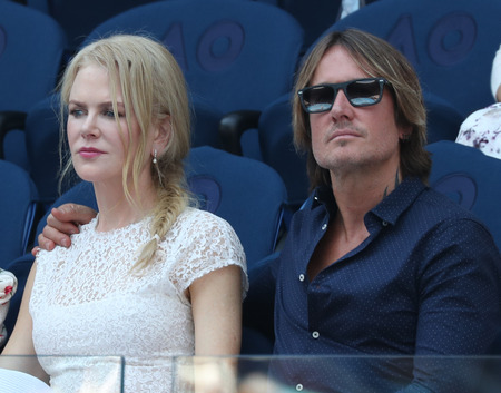 MELBOURNE, AUSTRALIA - JANUARY 23, 2019: Australian actress Nicole Kidman and singer Keith Urban attend 2019 Australian Open during women's semifinal match at Rod Laver Arena  in Melbourne Park Editorial