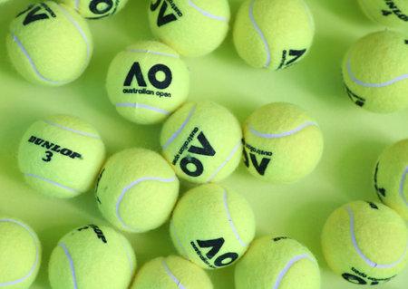 MELBOURNE, AUSTRALIA - JANUARY 23, 2019: Dunlop tennis balls with Australian Open logo on display at Australian tennis center in Melbourne Park