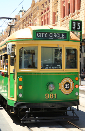 MELBOURNE, AUSTRALIA - JANUARY 24, 2019: Vintage W class tram in City Circle service.This free tram aimed mainly for tourists running around the central business district of Melbourne, Australia Editöryel