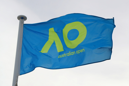 MELBOURNE, AUSTRALIA - JANUARY 27, 2019: The Australian Open flag during 2019 Australian Open in Melbourne Park