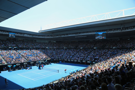 MELBOURNE, AUSTRALIA - JANUARY 22, 2019: Rod Laver arena during 2019 Australian Open match at Australian tennis center in Melbourne Park. It is the main venue for the Australian Open since 1988 Editöryel