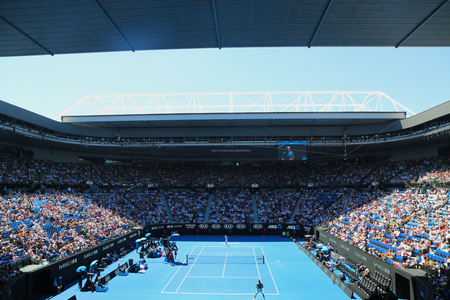 MELBOURNE, AUSTRALIA - JANUARY 22, 2019: Rod Laver arena during 2019 Australian Open match at Australian tennis center in Melbourne Park. It is the main venue for the Australian Open since 1988 Stok Fotoğraf - 117742126