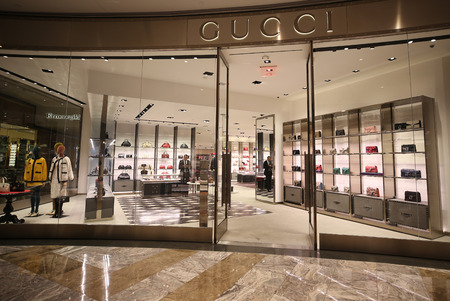 NEW YORK - NOVEMBER 15, 2018: Gicci store in New York Citys Brookfield Place in Manhattan. Gucci is an Italian luxury brand of fashion and leather goods. Gucci was founded by Guccio Gucci in Florence