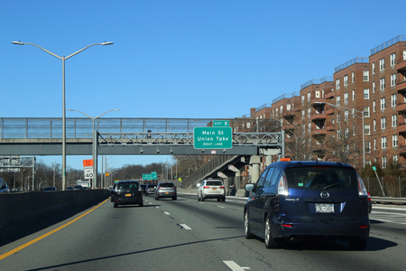 QUEENS, NEW YORK - JANUARY 14, 2018: Van Wyck Expressway in Queens. Interstate 678 (I-678) is a northsouth auxiliary Interstate Highway that extends for 14 miles (23 km) through two boroughs of NY Editorial