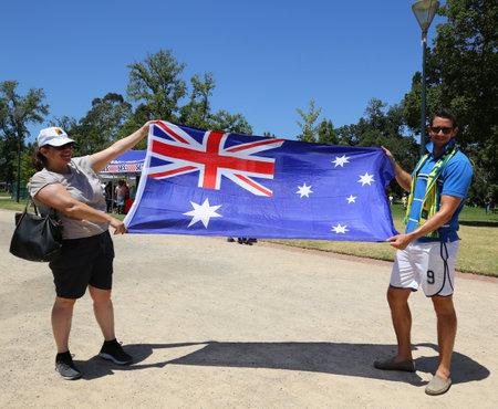 MELBOURNE, AUSTRALIA - JANUARY 26, 2019: Unidentified family celebrates Australia on Australia Day at the Kings Domain Gardens in Melbourne Editorial