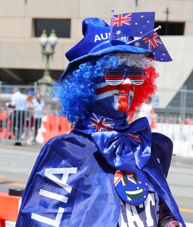 MELBOURNE, AUSTRALIA - JANUARY 26, 2019: Unidentified man celebrates Australia on Australia Day at the Kings Domain Gardens in Melbourne