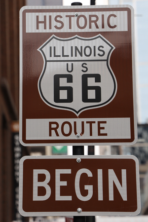 Route 66 sign, the beginning of historic Route 66 in Chicago, Illinois