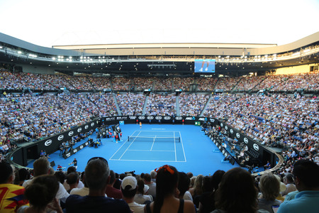 MELBOURNE, AUSTRALIA - JANUARY 24, 2019: Rod Laver arena during 2019 Australian Open match at Australian tennis center in Melbourne Park. It is the main venue for the Australian Open since 1988