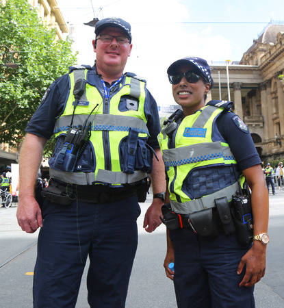 MELBOURNE, AUSTRALIA - JANUARY 26, 2019: Victoria Police Constable provides security during 2019 Australia Day Parade in Melbourne