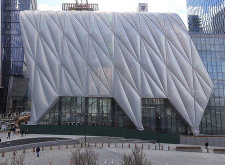 NEW YORK - MARCH 19, 2019: The Shed at Hudson Yards A New Center For The Arts is a cultural center under construction on the far west side of Manhattan, New York City.