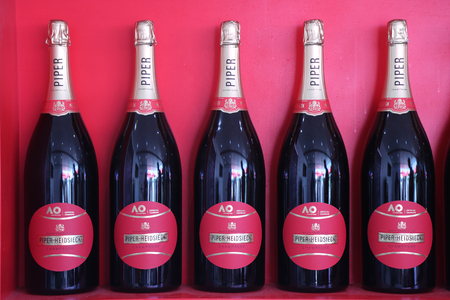 MELBOURNE, AUSTRALIA - JANUARY 27, 2019: Piper Heidsieck champagne presented during 2019 Australian Open in Melbourne. Piper Heidsieck is the official champagne of the Australian Open