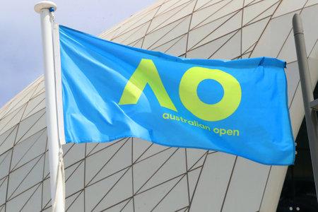 MELBOURNE, AUSTRALIA - JANUARY 27, 2019: The Australian Open flag during 2019 Australian Open in Melbourne Park