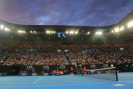 MELBOURNE, AUSTRALIA - JANUARY 26, 2019: Rod Laver arena during 2019 Australian Open match at Australian tennis center in Melbourne Park. It is the main venue for the Australian Open since 1988