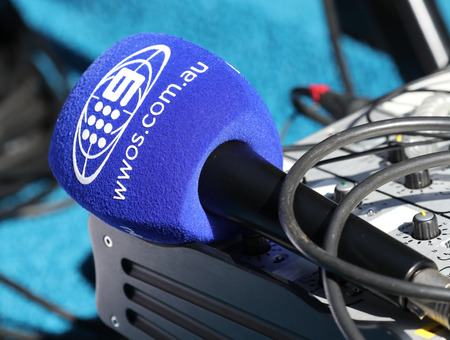 MELBOURNE, AUSTRALIA - JANUARY 26, 2019: Channel 9 Wide World of Sports Australia microphone ready for interview during 2019  Australian Open in Melbourne Park