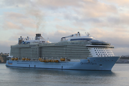 AUCKLAND, NEW ZEALAND - JANUARY 29, 2019: Royal Caribbean Cruise Ship Ovation of the Seas in Auckland Harbor. Ovation of the Seas is a Quantum-class cruise ship owned by Royal Caribbean International