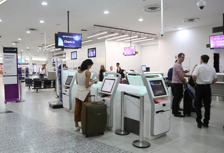 MELBOURNE, AUSTRALIA - JANUARY 28, 2019: Air New Zealand check in area at Melbourne International Airport.