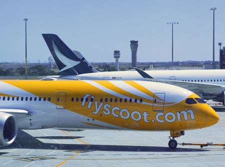 MELBOURNE, AUSTRALIA - JANUARY 28, 2019: Scoot Tigerair aircraft on tarmac at Melbourne International Airport. It is a Singaporean low-cost airline owned by Singapore Airlines Editorial