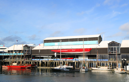 AUCKLAND, NEW ZEALAND - JANUARY 29, 2019: New Zealand Maritime Museum. It houses exhibitions spanning New Zealands maritime history  from first Polynesian explorers to modern day triumphs at the Americas Cup.