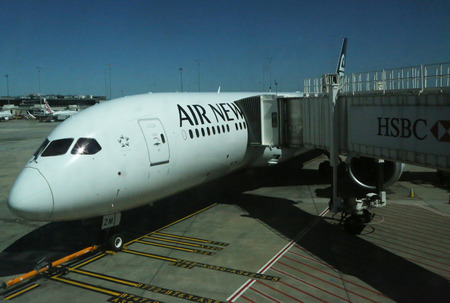 MELBOURNE, AUSTRALIA - JANUARY 28, 2019: Air New Zealand Boeing 787 on tarmac at Melbourne International Airport.