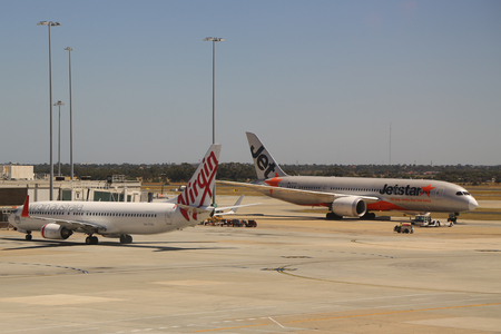 MELBOURNE, AUSTRALIA - JANUARY 28, 2019: Jetstar aircraft on tarmac at Melbourne International Airport. Jetstar Airways is an Australian low-cost airline headquartered in Melbourne, Australia Editorial