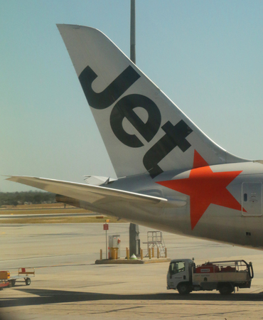 MELBOURNE, AUSTRALIA - JANUARY 28, 2019: Jetstar aircraft tailfin at Melbourne International Airport. Jetstar Airways is an Australian low-cost airline headquartered in Melbourne, Australia Editorial