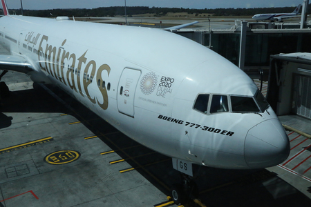 MELBOURNE, AUSTRALIA - JANUARY 28, 2019: Emirates Airline Boeing 777-300 ER aircraft on tarmac at Melbourne International Airport. Emirates is an airline based in Dubai, United Arab Emirates
