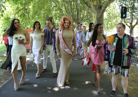 MELBOURNE, AUSTRALIA - JANUARY 26, 2019: Miss Gay and Miss Transsexual Australia members participate at the 2019 Australia Day Parade in Melbourne